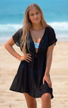 LORETTA BLACK BEACH DRESS COVER UP