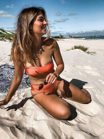 BAUDOUIN BIKINI TOP IN BURNT ORANGE,   - PINKCOLADA