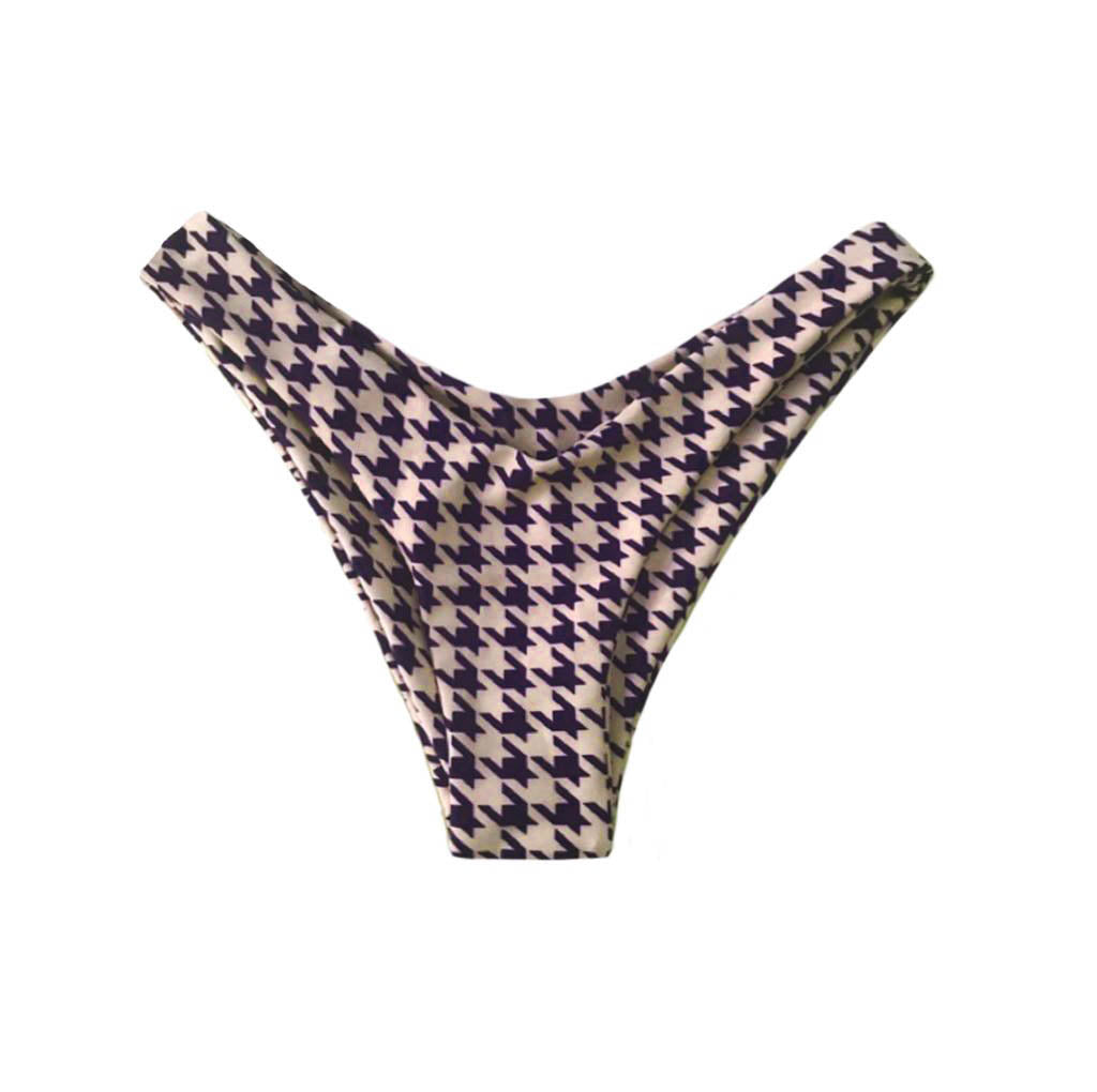 MALDIVES BOTTOMS IN BEIGE HOUNDSTOOTH - PINKCOLADA