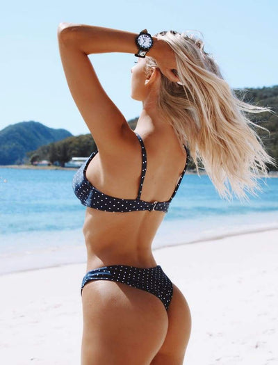 MALDIVES BIKINI BOTTOMS IN NAVY POLKA