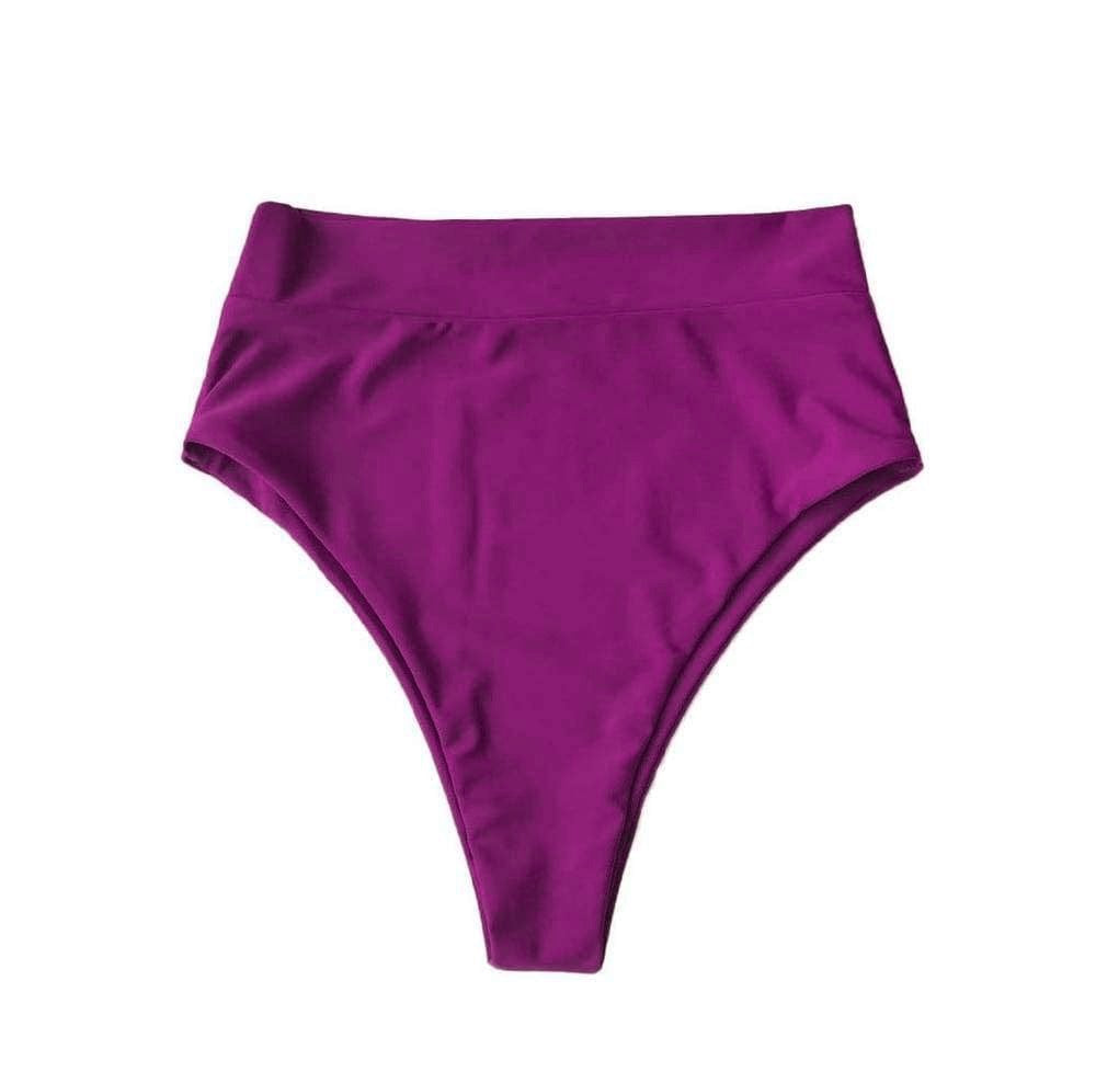SEYCHELLES HIGH WAISTED BIKINI BOTTOMS IN ORCHID PURPLE - PINKCOLADA