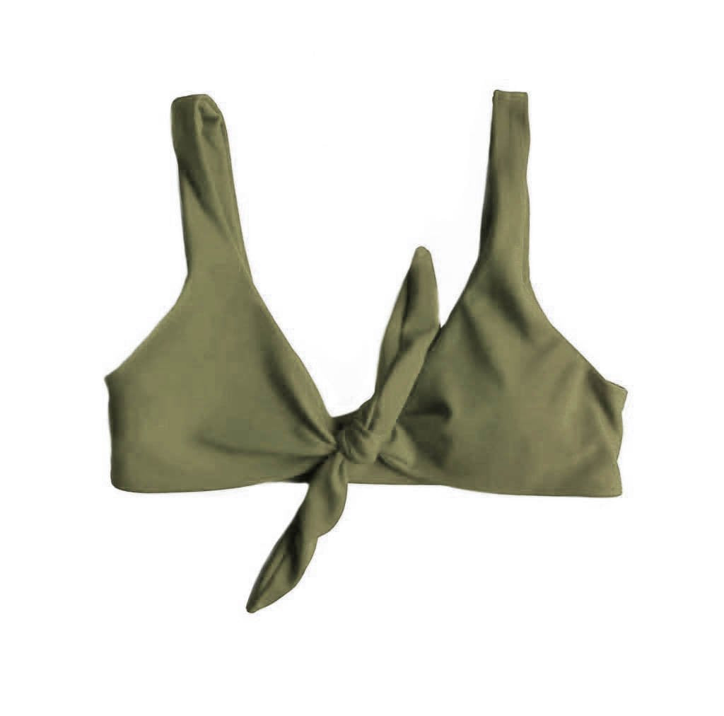 TIE UP BIKINI TOP IN KHAKI WILLOW