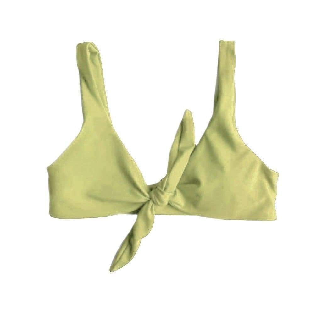 TIE UP BIKINI TOP IN AVOCADO GREEN