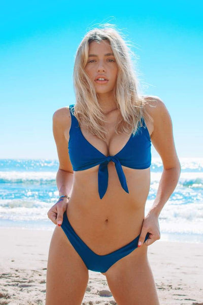 TIE UP BIKINI TOP IN MIDNIGHT TEAL