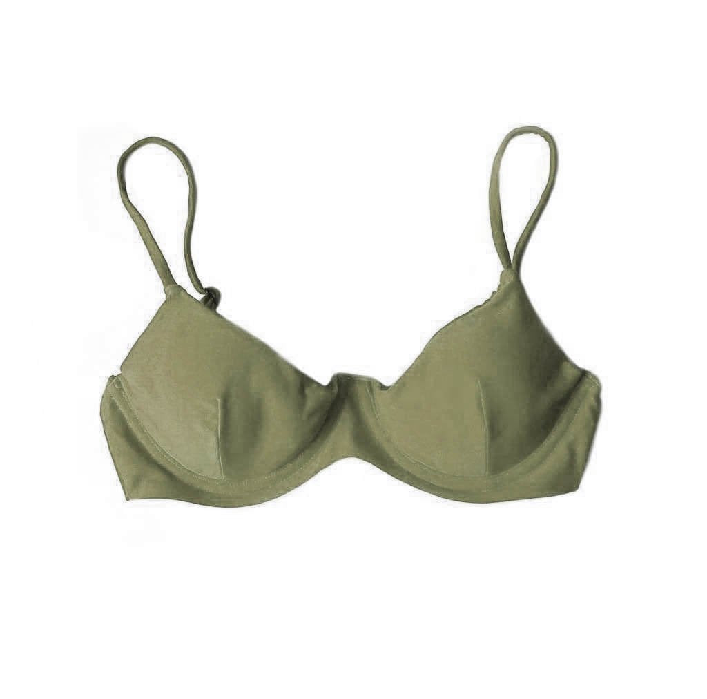 TROPEZ BIKINI TOP IN KHAKI WILLOW