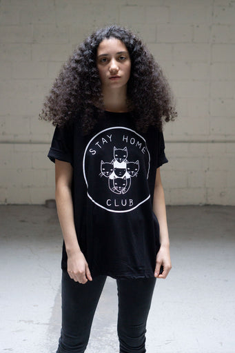 Stay Home Club logo - Classic Loose Tee - Black