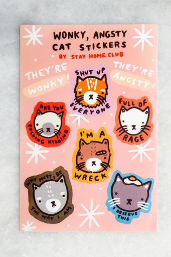 Wonky Angsty Cats Sticker Sheet
