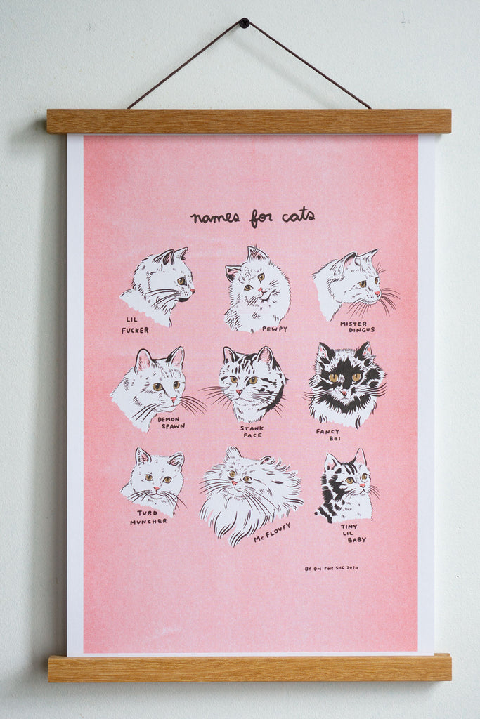 "Names for Cats Riso Print - 11"" x 17"""