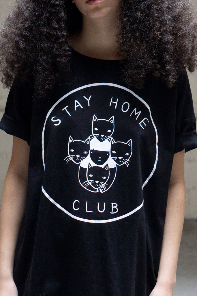 Stay Home Club loose tee (black)