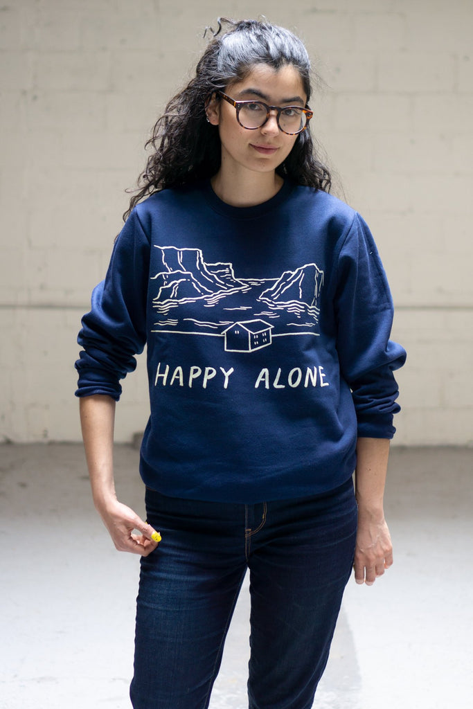 Happy Alone Crewneck Sweatshirt - Navy