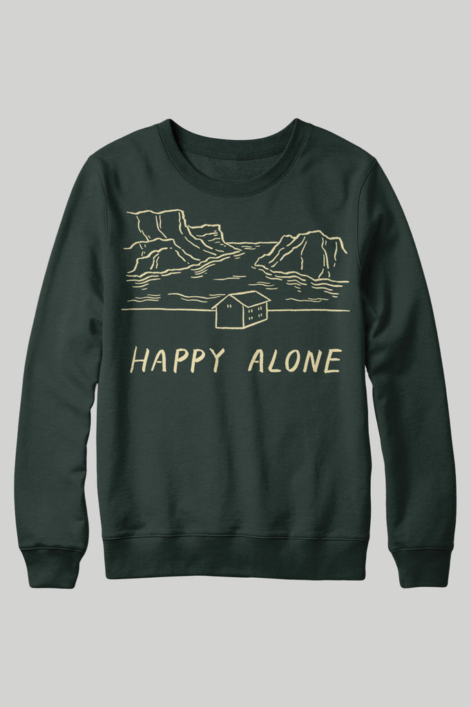 Happy Alone Crewneck Sweatshirt - Forest
