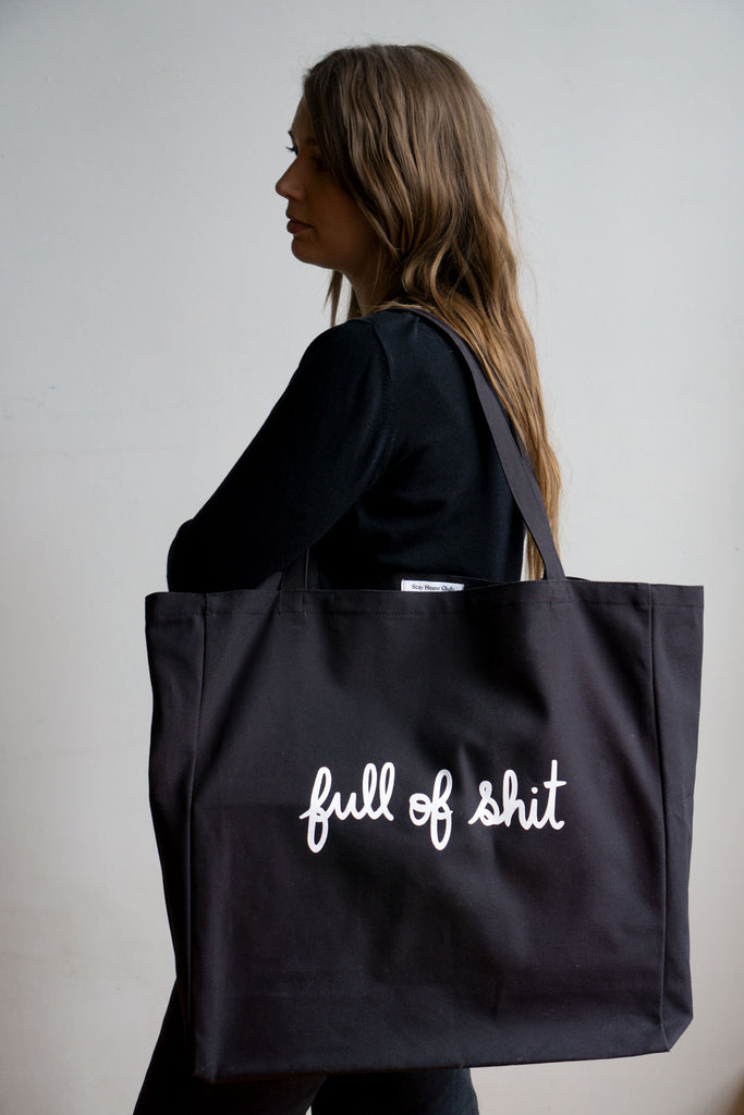 Full of Shit XL Tote - BLACK