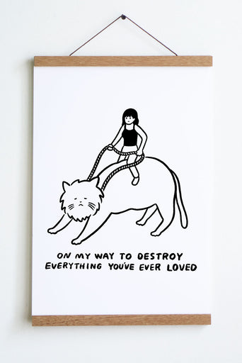 On My Way (Cat Rider) Print