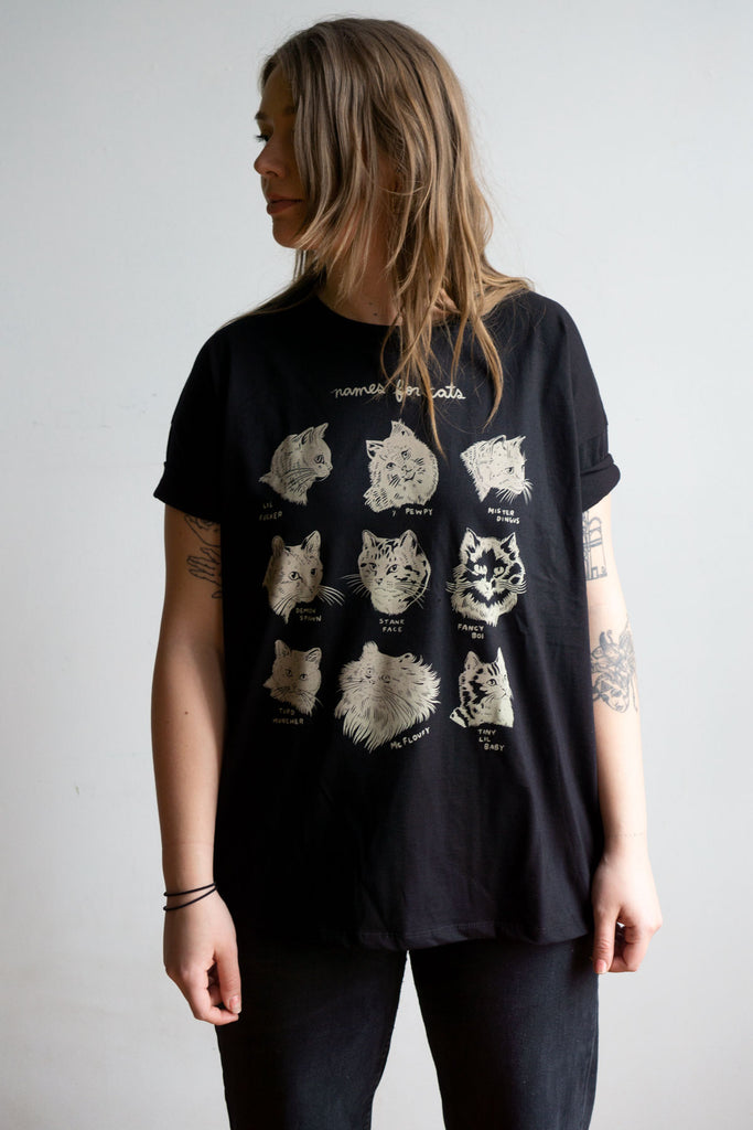 Names for Cats Loose Tee - BLACK