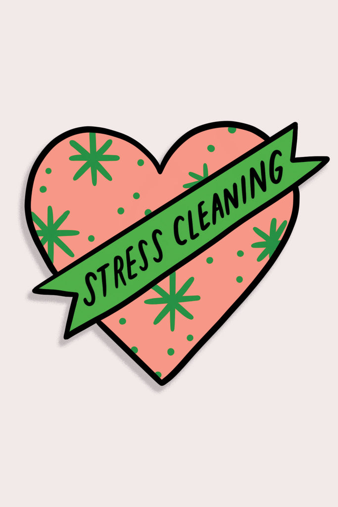 Stress Cleaning Heart Vinyl Sticker