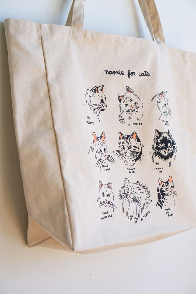 Names For Cats XL Tote - NATURAL