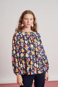 Waterfront blouse - navy vivid floral
