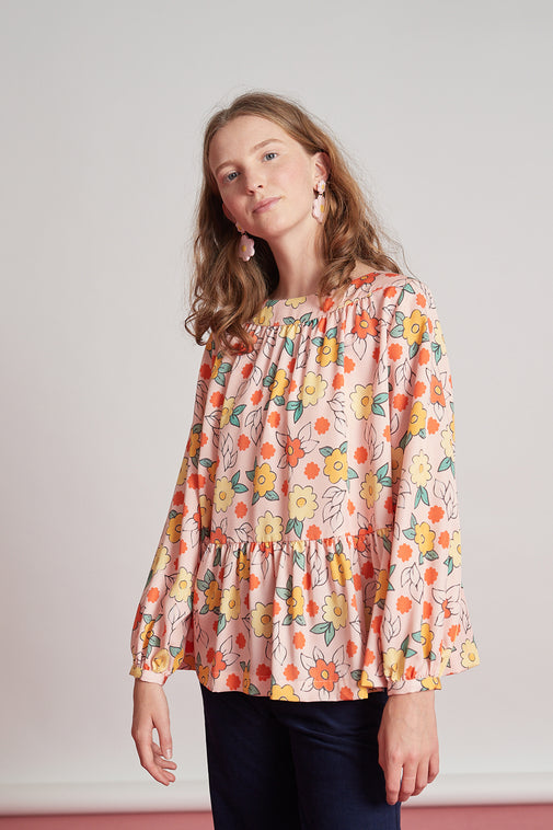 Waterfront blouse - pink vivid floral