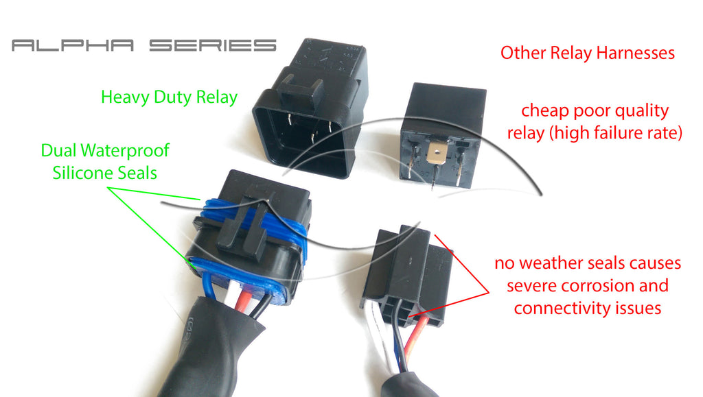 enlight alpha series hid power relay harness h11 input connector rh enlightauto com Relay Wiring Harness Bulbs for H11 Relay Harness