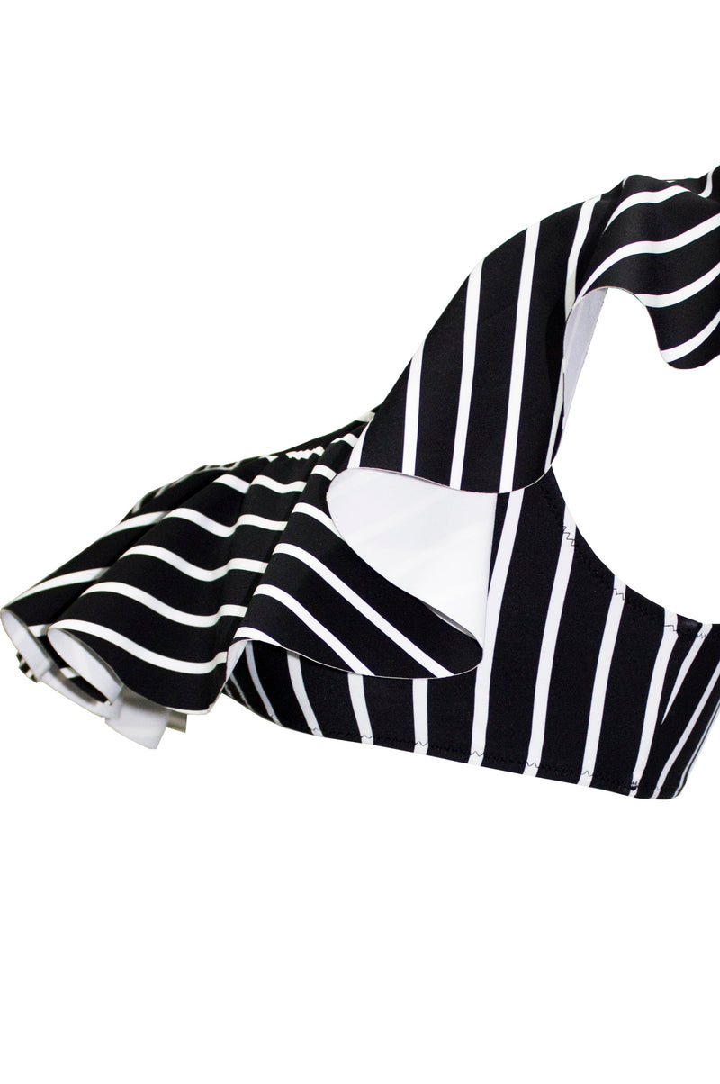'Flounce' Bikini in Black & White Stripes