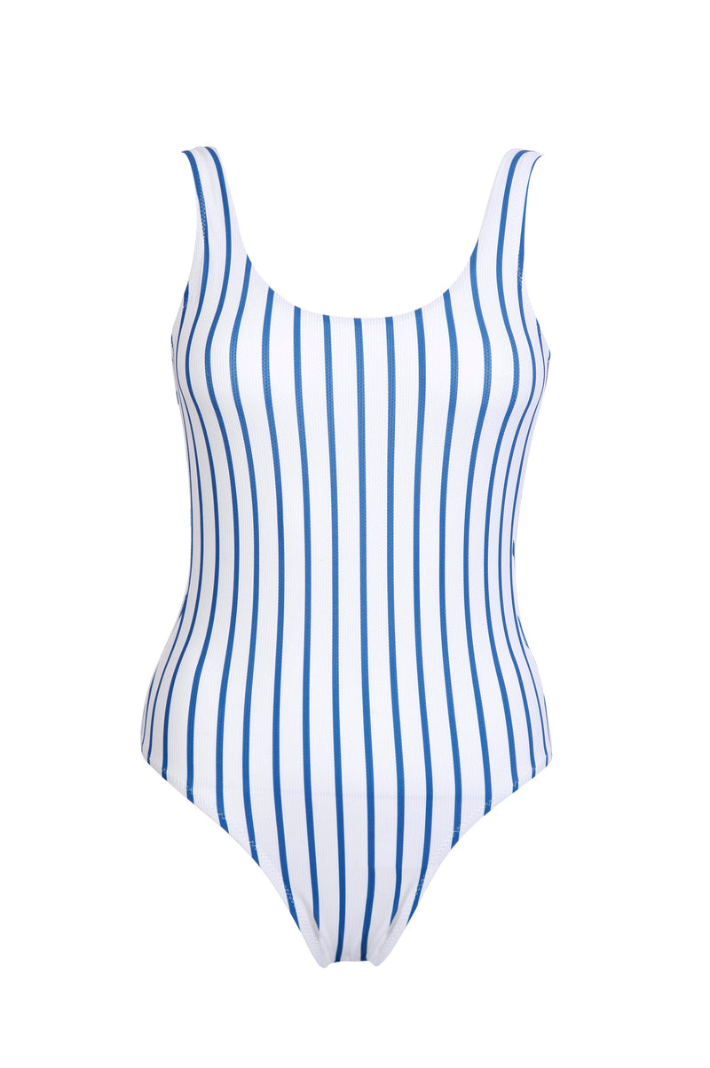 Scoop-Back Maillot in Marine Stripes