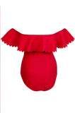 'Scallop' Ruffle One Piece in Lover's Red