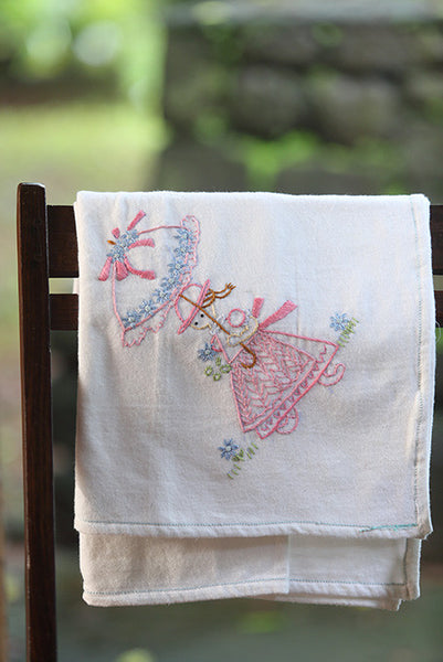 Girl With Umbrella Cotton Flannel Blanket