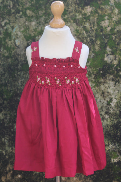 Strapped Polyster Crepe Smocked Dress