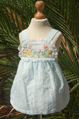 Sleeveless Cotton Dress with Large Embroidered Flowers