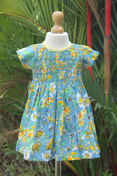 Smocked Printed Cotton  Dress with Sash