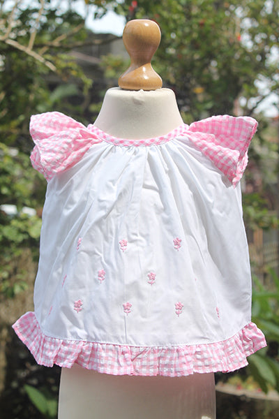 Baby Pinny Set with Checked Sash