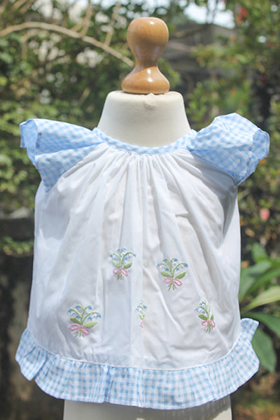 Pinny Set with Blue n White Flowers