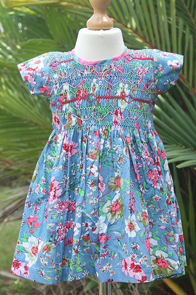 Round Neck Cotton Dress with Short Sleeves