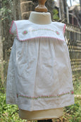 Hand Embroidered White Cotton Dress with Square Collar