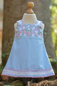 BLUE COLOR DRESS WITH PINK N WHITE FLOWERS