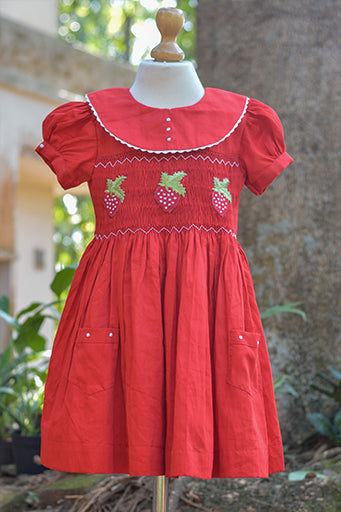 CHERRY BERRY SMOCK COTTON DRESS