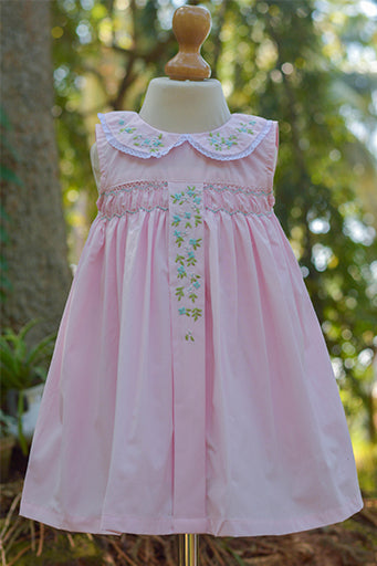 Smocked Pink Dress with Panel Embroidery