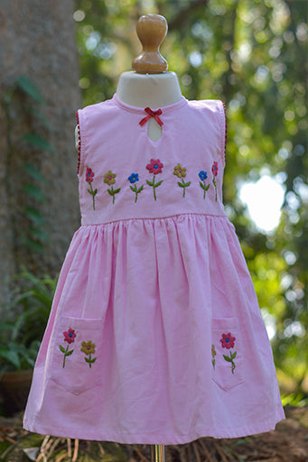 Corduroy Fabric Dress With Bow & Flower