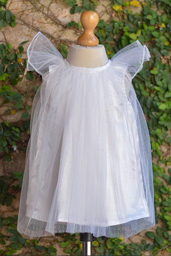 White Net Dress With Satin Lining