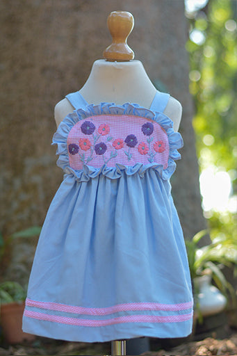 BLUE N PINK PINAFORE DRESS