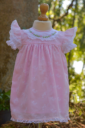 EMBROIDERED PINK FABRIC DRESS