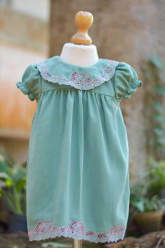TEA GREEN CUTWORK DRESS