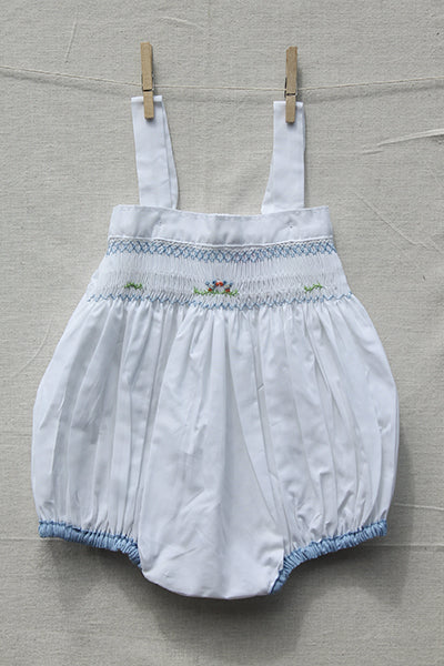 Smocked Flowery Cotton Romper