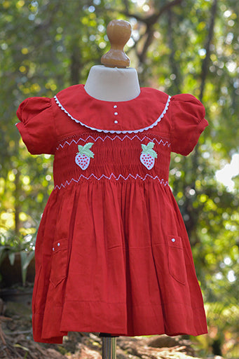 STRAWBERRY MOTIF SMOCKED COTTON DRESS