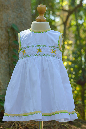 Smocked Yellow Butterfly Dress With Piping