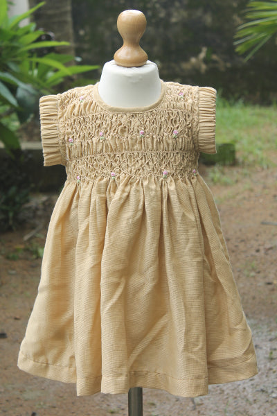 Polyester Fabric Smocked Dress