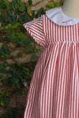 White Collared Striped Dress
