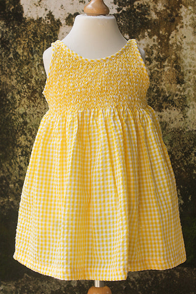 Smocked Gingham Dress with Sash
