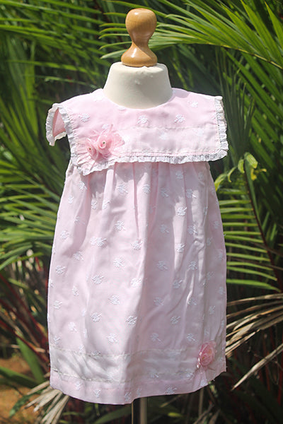 Baby Pink Dress with Square Collar