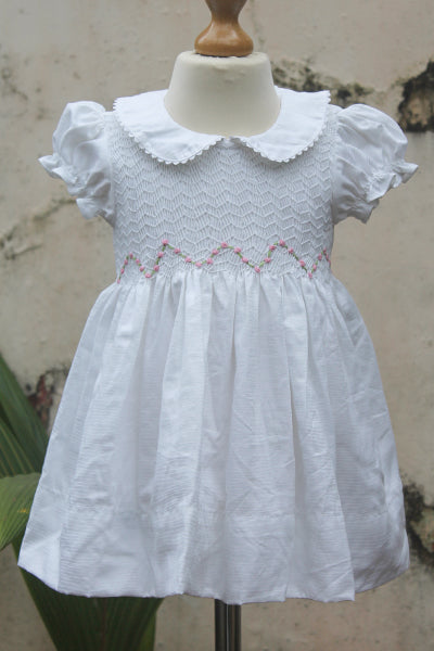 Smocked Cotton Dress with Bullion Flowers